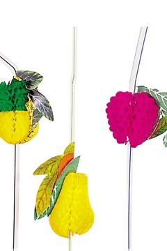 Trinkhalme mit Früchte, Ø5mm, 24cm, 100 Stk.